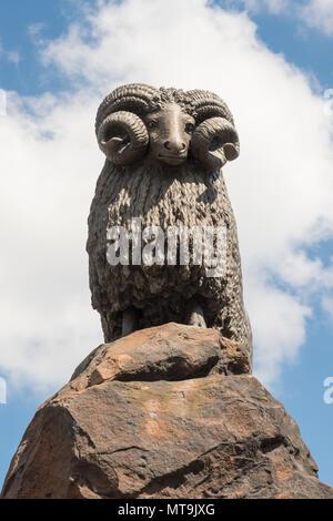 The Moffat Ram statue, Moffat, Dumfries and Galloway, Scotland, UK - Stock Photo