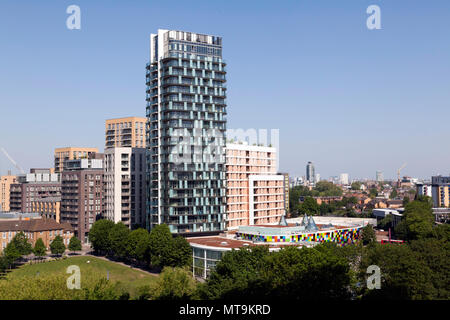 Loampit Vale, looking more  like Croydon, because of  high-rise, high massing  developments passed by Steve Bullock and Heidi Alexander - Stock Photo