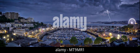 GB - DEVONSHIRE: Panoramic view of Torquay harbour and town by night - Stock Photo