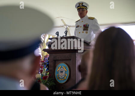 Coast Guard Rear Adm. Scott A. Buschman, addresses a crowd Friday, May 18, 2018, during the Coast Guard Atlantic Area change of command ceremony at Training Center Yorktown, Virginia. During the ceremony, Buschman assumed command of Atlantic Area from Vice Admiral Karl Schultz. (U.S. Coast Guard photo by Petty Officer 3rd Class Ryan Dickinson) - Stock Photo