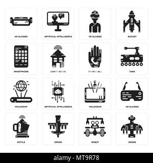 Set Of 16 simple editable icons such as Drone, Robot, Kettle, Ar glasses, Smartphone, Hologram, Phone call can be used for mobile, web UI - Stock Photo