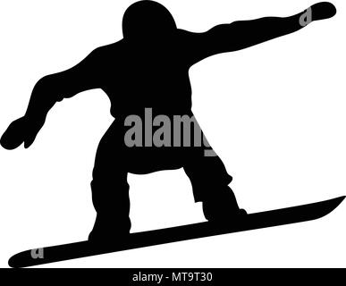 male snowboarder jump and flight black silhouette - Stock Photo