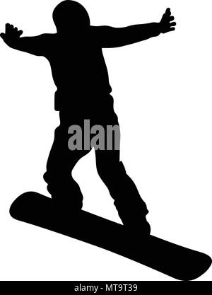 snowboard jump and flying athlete snowboarder black silhouette - Stock Photo