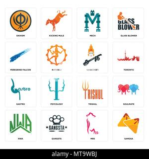 Set Of 16 simple editable icons such as samosa, mrs, gangsta, nwa, soulmate, sikhism, peregrine falcon, gastro, saraswati can be used for mobile, web  - Stock Photo