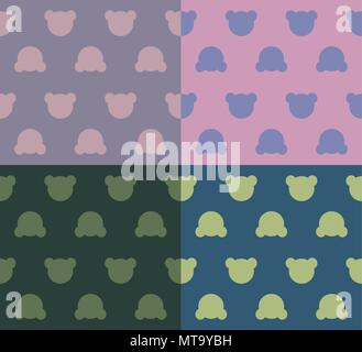cute teddy bears heads silhouettes - seamless pattern set texture design for child themes on color backgrounds vector image - Stock Photo