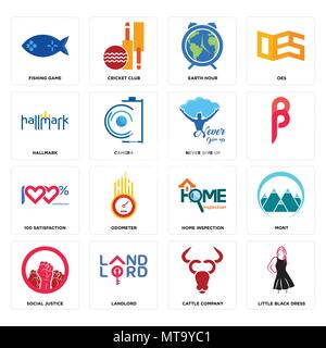 Set Of 16 simple editable icons such as little black dress, cattle company, landlord, social justice, mont, fishing game, hallmark, 100 satisfaction,  - Stock Photo