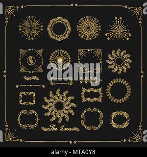 Vector set of decorative elements, border, frame with floral elements for design of invitation, greeting, wedding, gift card, certificate, diploma, vo - Stock Photo