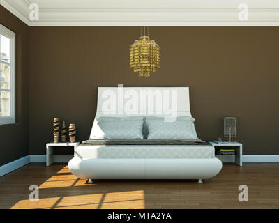 modern bedroom with brown wall and modern decor - Stock Photo