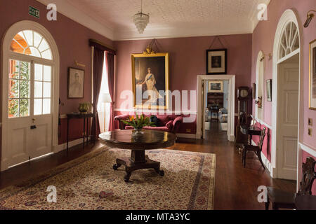 Entrance hallway of Plantation House, the British Governor's Residence. Plantation House was built in 1792 by the East India Company. St Helena - Stock Photo