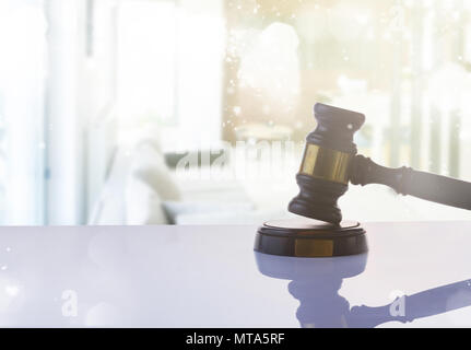Law and justice concept - law gavel on abstract background - Stock Photo