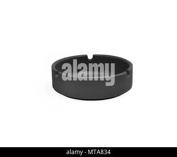 Black ceramic ashtray isolated on white background - Stock Photo