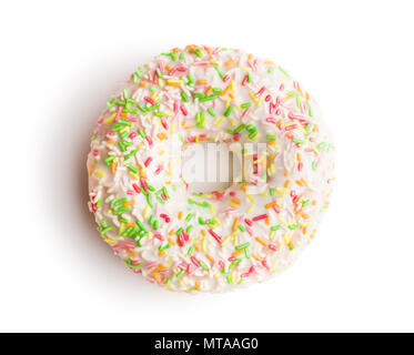 Sweet sprinkled donut isolated on white background. - Stock Photo