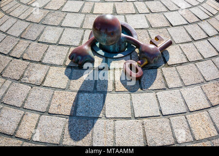 Scheveningen, The Netherlands, August 9, 2017: On the beach promenade you will find a group of statues called statues of the sea. - Stock Photo