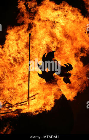 Up Helly Aa burning galley - Stock Photo