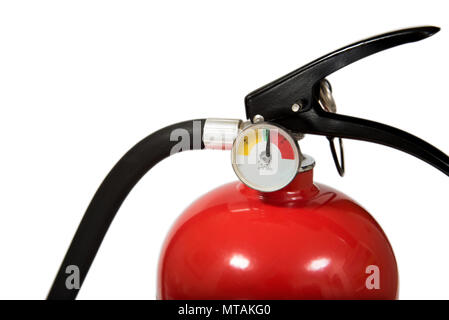 Red Fire Extinguisher With Copy Space Isolated on White Background - Stock Photo