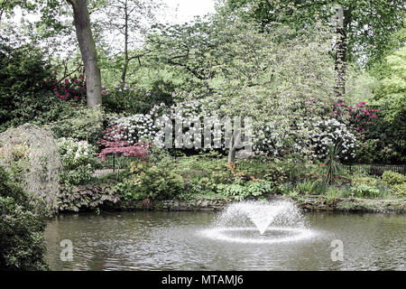 Water fountains inside The Dingle, a beautiful public park situated within The Quarry, Shrewsbury, Shropshire, England. - Stock Photo