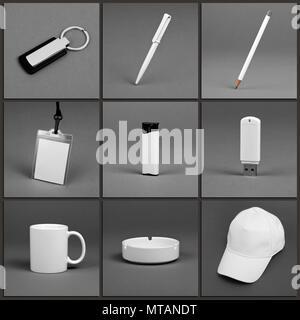 Blank stationery set for corporate identity system on gray background - Stock Photo