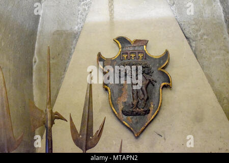Roman shield and spears at  Sant'Angelo Castle Italy - Stock Photo
