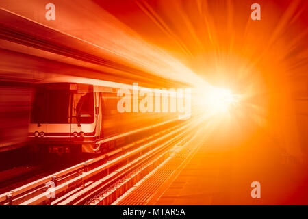 High speed business train transport and technology concept, Acceleration super fast speedy motion zoom blur of sky train station for background design - Stock Photo