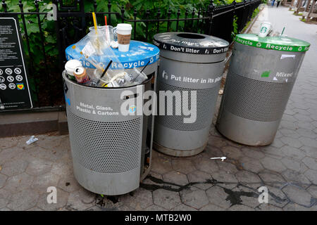 NYC Garbage and recycling cans - Stock Photo