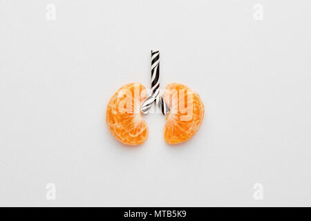 Conceptual image of human lungs. Tangerines and straw designed as lung on white background with copy space. - Stock Photo