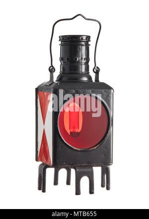Antique vintage railway lantern on isolated white background - Stock Photo