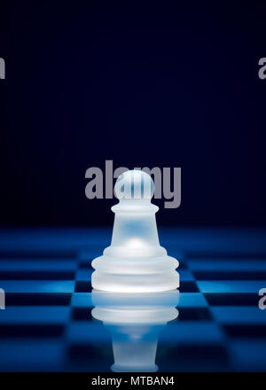 Chess game pieces. The pawn on the chessboard. - Stock Photo