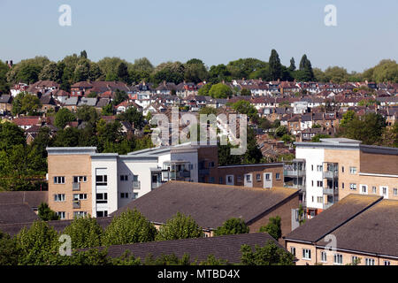 Aerial view  looking up Ellerdale  Street,  towards  Hilly Fields Park, at the top of the Hill, Lewisham, London - Stock Photo