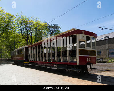 Manx Electric Railway tram in Laxey Interchange Station Isle of Man electric interurban tramway connecting Douglas Laxey and Ramsey - Stock Photo