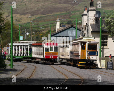 Two trains of Manx Electric Railway passing in Laxey Interchange Station Isle of Man electric interurban tramway connecting Douglas Laxey and Ramsey - Stock Photo