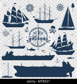 Set of sailing ships, yachts and tankers - Stock Photo