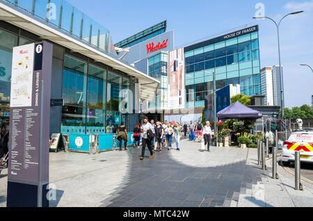 A view of the outside of the Westfield Shopping Center at White City, Shepherd's Bush in West London, UK. - Stock Photo