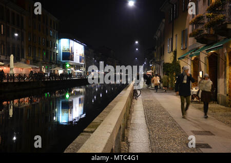 Via Ascanio Sforza, Naviglio Grande canal, Navigli district, Milan, Lombardy, Italy, January 2018 - Stock Photo