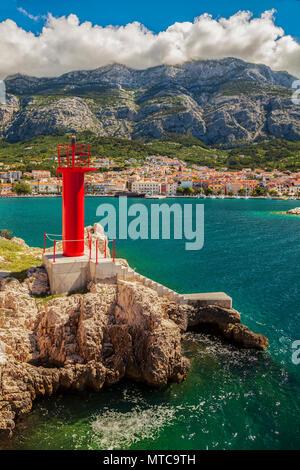 The harbour lighthouse in Makarska, Croatia. - Stock Photo