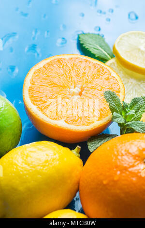 Variety of Citrus Organic Fruits Whole and Halved Oranges Sliced Lemons Lime Fresh Mint Leaves on Blue Background with Water Drops. Morning Sunlight.  - Stock Photo