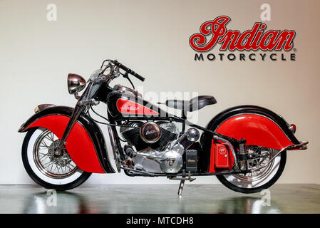Cardiff, Wales, UK, July 26, 2015: Closeup of a Scale Model Indian Big Chief Motorcycle - Stock Photo