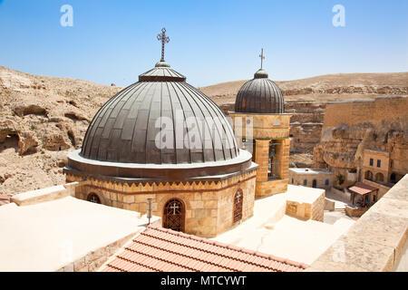 Greek Orthodox monastery Great Lavra of St. Sabbas the Sanctified (Mar Saba) in Judean desert. Palestine, Israel. - Stock Photo