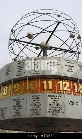Berlin, Germany - August 18, 2017: Urania World Clock also called Urania-Weltzeituhr in German language - Stock Photo