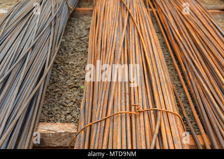 Armature for concrete construction works. The armature are covered with rust. Outdoor storage - Stock Photo