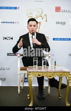 Paris. 28th May, 2018. Chinese actor Liu Ye speaks at a press conference on the 8th edition of Chinese Film Festival in France (FCCF) on May 28, 2018. The film festival runs from May 28 to July 10 in Paris and in several French cities including Cannes, Marseille, Lyon, Saint-Denis Reunion, Strasbourg and Brest, offering French audiences a chance to discover nine Chinese films released last year. Credit: Zhang Man/Xinhua/Alamy Live News - Stock Photo