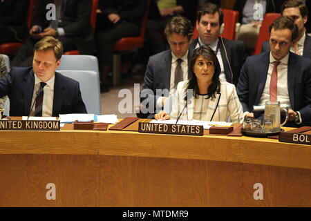 UN, New York, USA. 30th May, 2018. Nikki Haley, US Ambassador, spoke in UN Security Council about Iraq. Photo: Matthew Russell Lee / Inner City Press  - Stock Photo