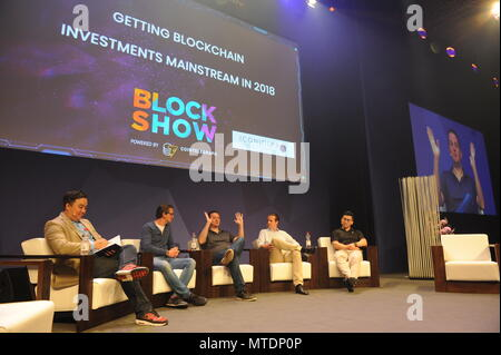 Berlin. 28th May, 2018. Photo taken on May 28, 2018 shows the view of the Blockshow Europe 2018 in Berlin, Germany. Thousands of blockchain professionals and fans gathered here Monday and Tuesday in Blockshow Europe 2018 for the application and future development of the technology. Credit: Yan Feng/Xinhua/Alamy Live News - Stock Photo