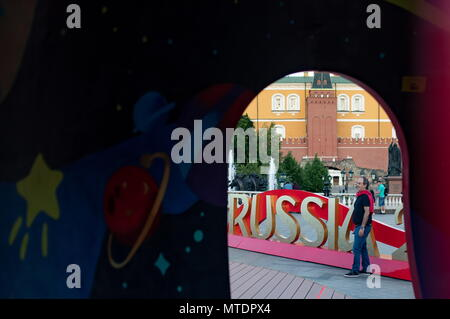 Moscow, Russia. 30th May, 2018. MOSCOW, RUSSIA - MAY 30, 2018: A view of Moscow's Manezhnaya Square decorated ahead of the 2018 FIFA World Cup. Sergei Bobylev/TASS Credit: ITAR-TASS News Agency/Alamy Live News - Stock Photo