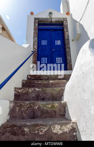 Stairs to a home in Oia, Santorini, Greece - Stock Photo