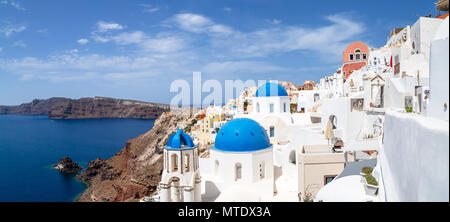 Blue Domes of Oia, Santorini, Greece - Stock Photo