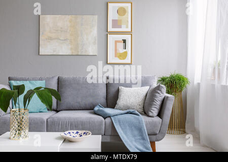 Real photo of a grey sofa standing in a stylish living room interior behind a white table with leaves and in front of a grey wall with posters - Stock Photo