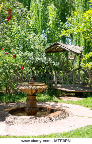 garden space at jardin bio aromatique nectarome ourika valley morocco stock photo - Jardin Bio
