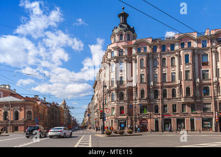 St.Petersburg, Russia - May 23, 2015: Square of Leo Tolstoy, located in Petrogradsky district of St. Petersburg, at intersection of Kamennoostrovsky P - Stock Photo