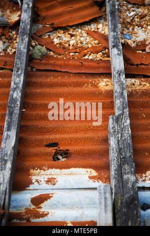rusty corrugated iron panel - Stock Photo