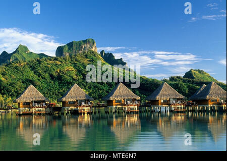 Moana Beach Park Royal Hotel, overwater bungalows, lagoon,  Matira Point,  Bora Bora. - Stock Photo